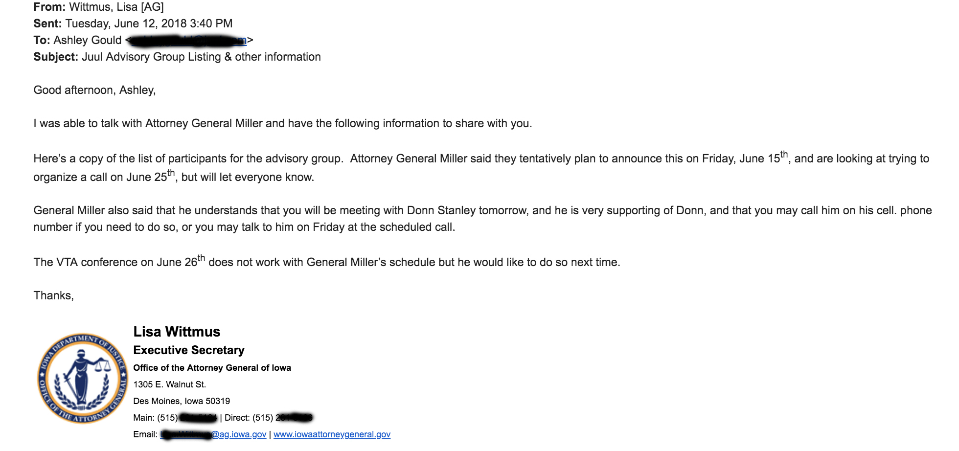 A screenshot of an email about Donn Stanley