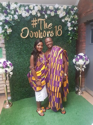 Michelle and Kojo at their traditional Ghanaian wedding last year. Photo courtesy of Michelle Donker