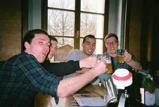 People on holiday in Germany enjoying a pint