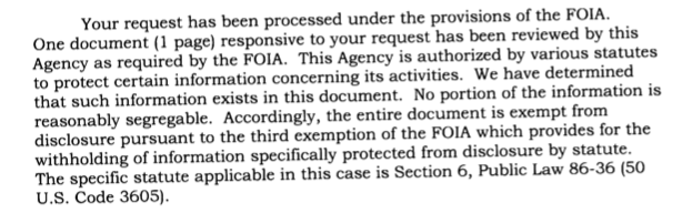 A screenshot of a passage from the NSA's FOIA response to VICE explaining that it cannot share its Slack domains because it is secret information.