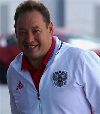 Slutsky in zijn tijd als bondscoach van Rusland.