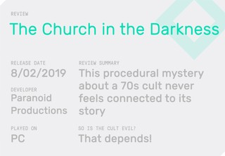 Church-In-The-Darkness-Review-Block containing the summary for a review of Church in the Darkness and declaring whether it is any good