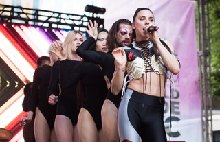 Melanie C performing with Sink the Pink at World Pride