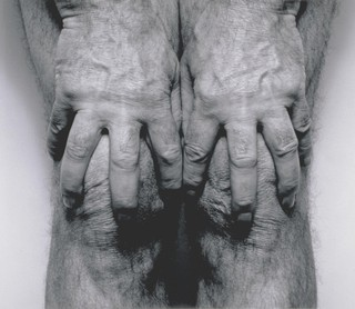 Self-Portrait (Hands Spread on Knees)