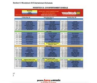 Woodstock 50 set times