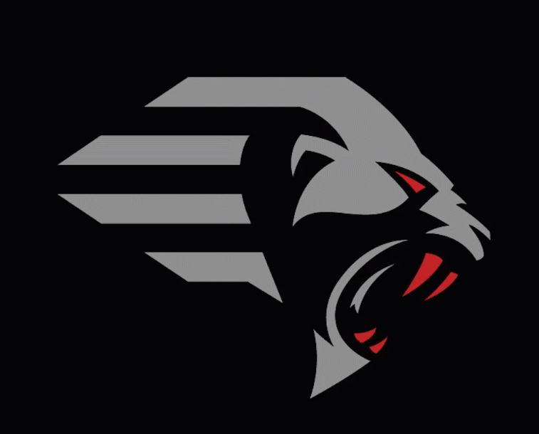 XFL logo for the New York Guardians. A stylized grey head of a lion-like creature in profile, with red eyes and fangs, on a black background.