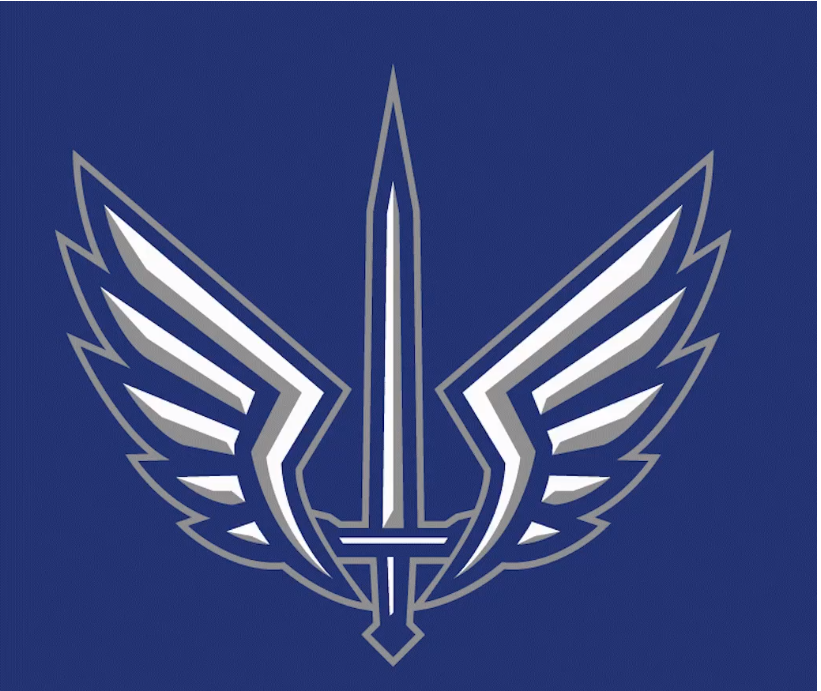 XFL logo for the Saint Louis BattleHawks. A sword flanked by two wings on a blue background.