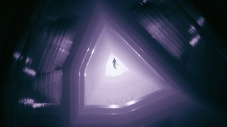 A screenshot from Control in which Jess Faden floats through an eerie otherworldly space.