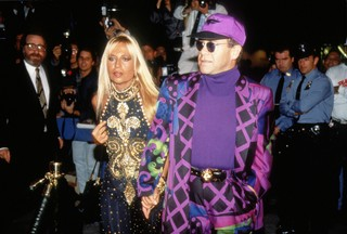 Donatella Versace and Elton John. Photo by Sonia Moskowitz/Images/Getty Images