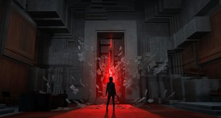A lone figure is silhouetted against a red doorway sealed with stone and unholy red light breaking through in Remedy's Control