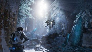 An ice forest in Gears of War 5