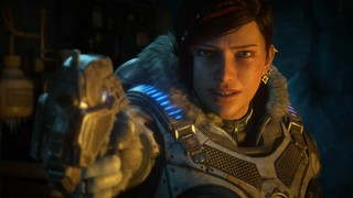 Gears of War 5's Kate draws a pistol and points it toward the camera in the Gears of War 5 review for Vice Waypoint