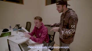 A still frame from a 100 Thieves youtube video depicting Nadeshot realizing how many grocery bills his team has run up.