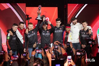 The 100 Thieves Roster celebrates after winning a tournament,