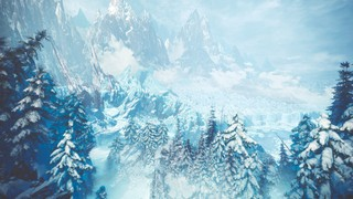 Screenshot from Monster Hunter World: Iceborne. An arial view of the Hoarfrost Reach, the new snowy climate area in this expansion. A snow covered forest sits nestled up to a mountain made of ice.
