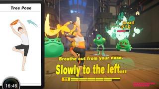 Screen shot from 'Ring Fit Adventure', the left third of the screen is a demonstration of a specific yoga pose, the right 2/3rds show your in game avatar and the enemies you're fighting.