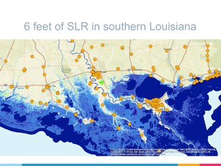 """Slide from presentation made by Tansey and Goldman showing six feet of sea level rise, a possible level of change in about a century that assumes a """"business as usual"""" nonresponse to climate change, overlain with known archive locations in Louisiana."""