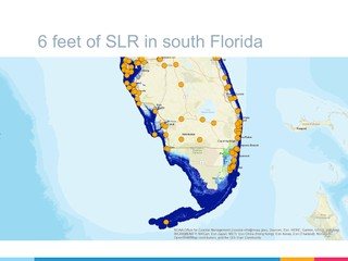 """Slide from presentation made by Tansey and Goldman showing six feet of sea level rise, a possible level of change in about a century that assumes a """"business as usual"""" nonresponse to climate change, overlain with known archive locations in Florida."""