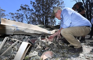 Scott Morrison after a bushfire