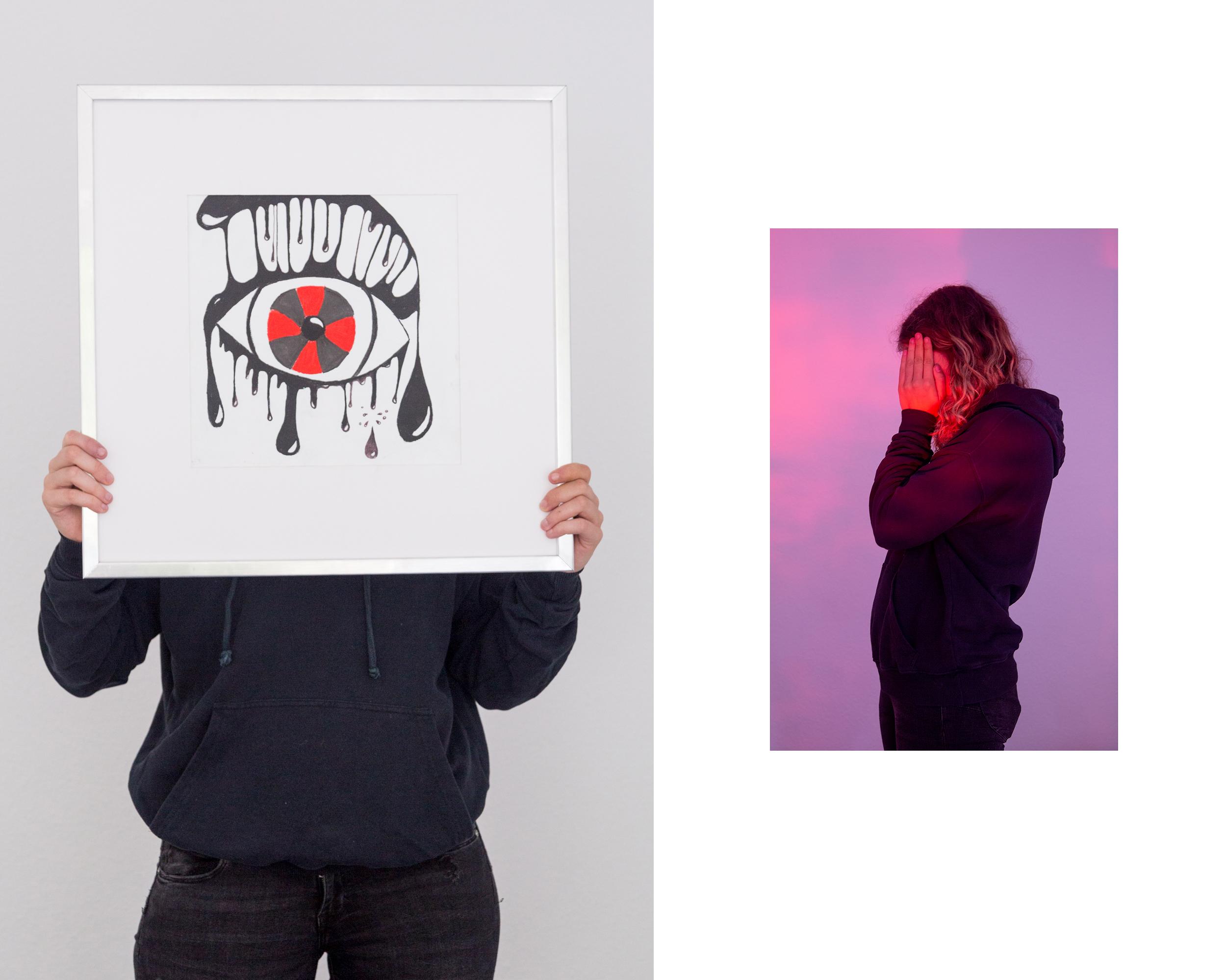 Laura menggenggam lukisan [kiri], dan Laura menyembunyikan wajah dengan kedua telapak tangannya [kanan]