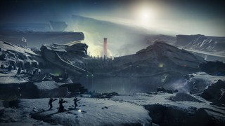 Screenshot from Destiny 2: Shadowkeep. Three guardians on the surface of the moon. The surface has been cracked open with green gas seeping out. In the background, a single red tower marks the position of the Scarlet Keep