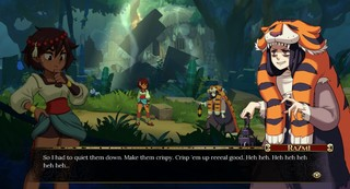 Screenshot from Indivisible, On the left, our main character Ajna, who has brown skin and brown hair, wearing a dress that's been tied up to her waist for extra mobility, on the right is Razmi, with light complexion and black hair, and deep bags under her eyes. She's wearing a tiger skin on her head and draped over her back and arms, with a dark colored dress underneath. There's a dialogue box that reads