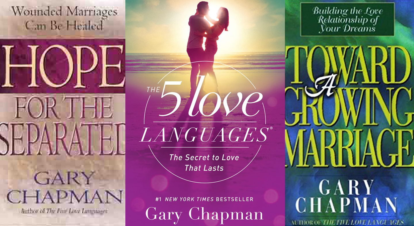 The covers for Hope for the Separated, The 5 Love Languages, and Toward a Growing Marriage