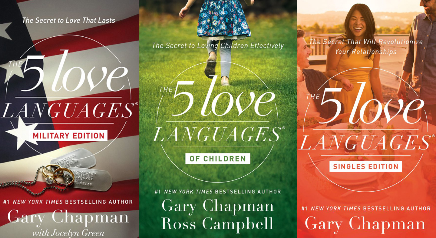 Different versions of the 5 Love Languages books
