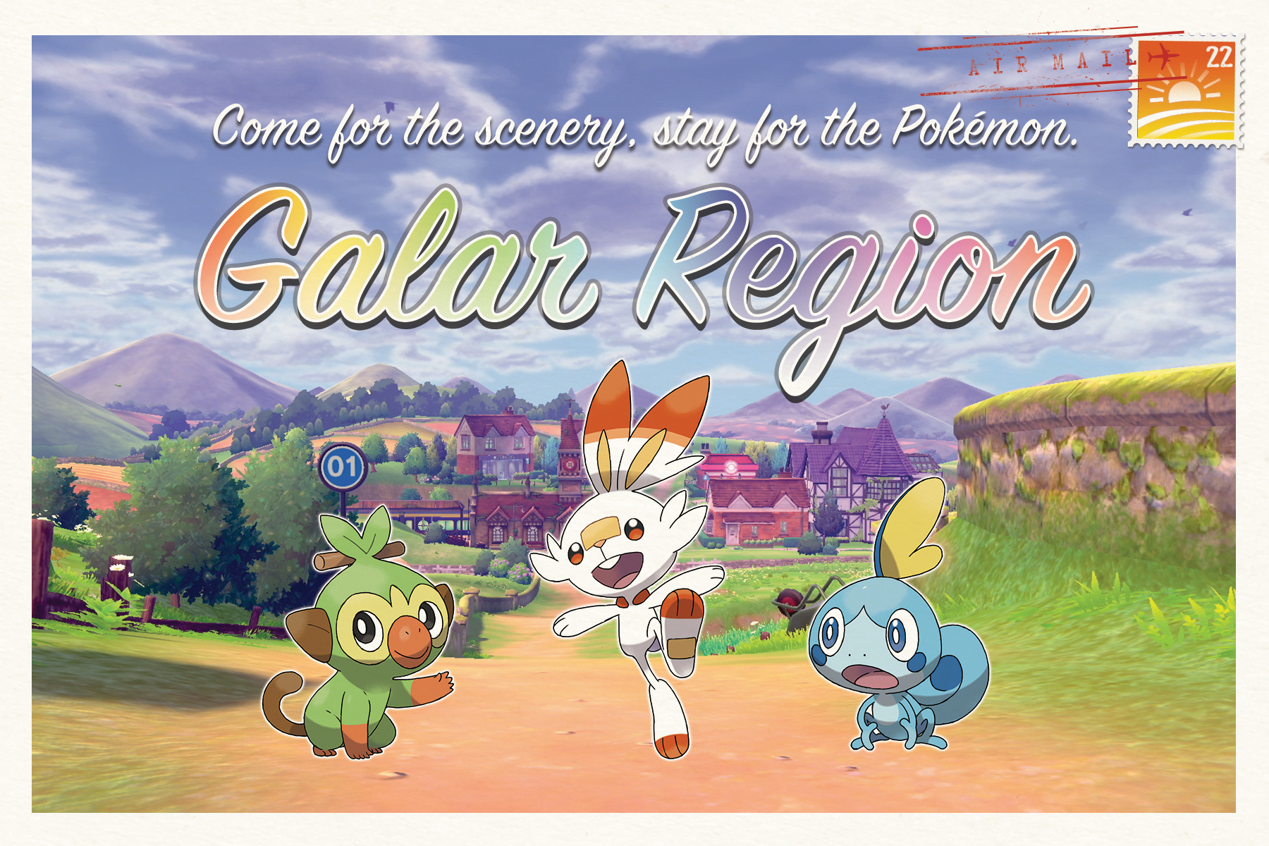 Illustration from Pokemon Sword and Shield. A postcard reading