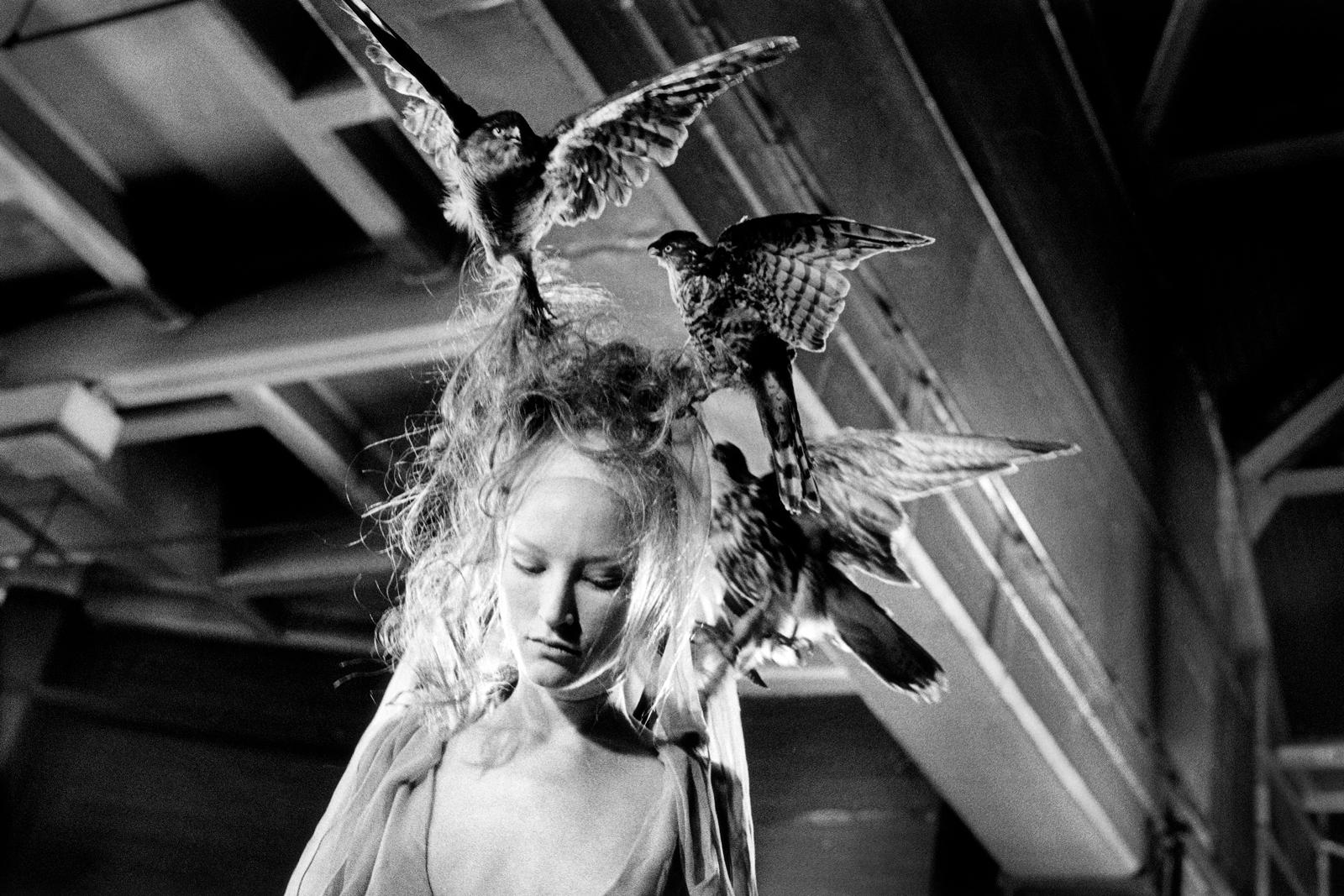 Alexander McQueen model with bird headdress