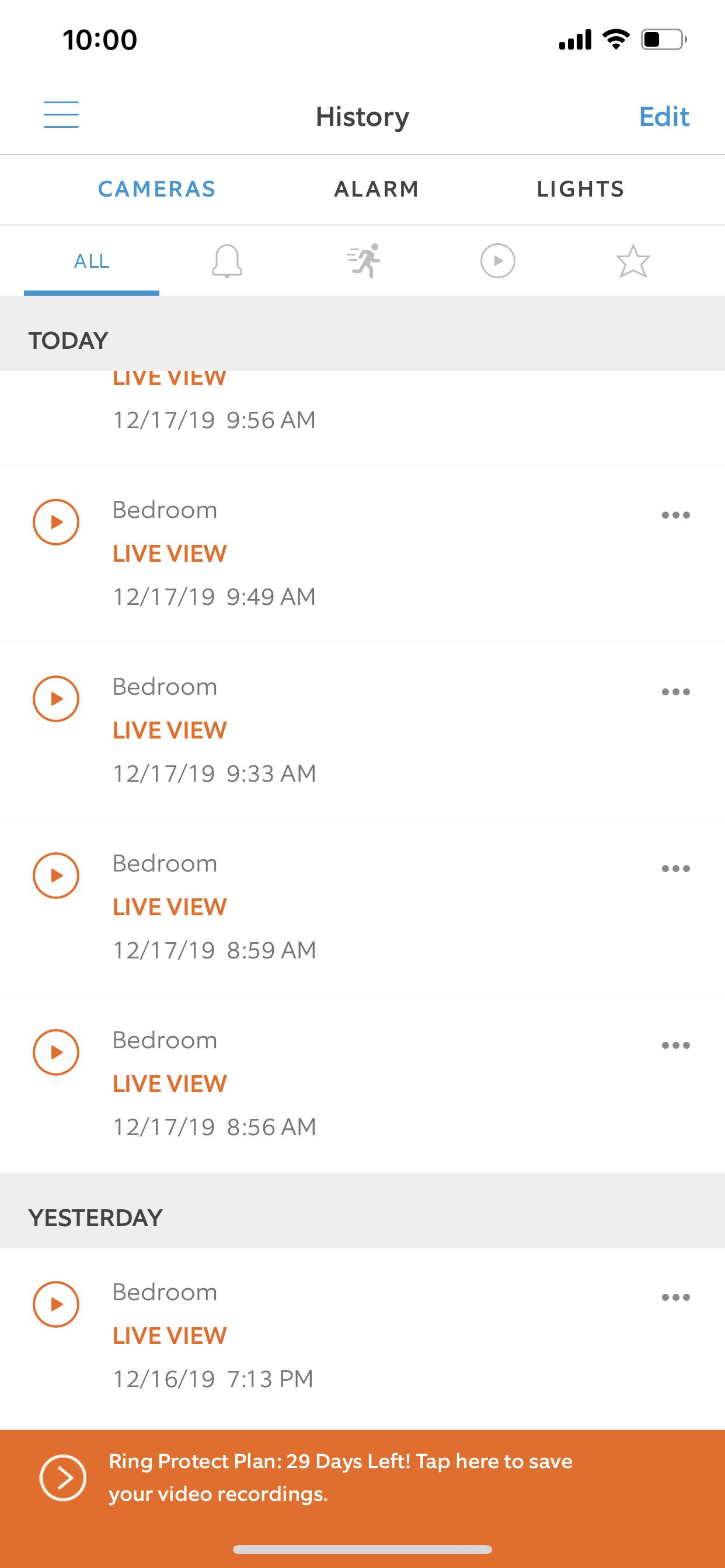 Lista de videos guardados dentro del App de Ring