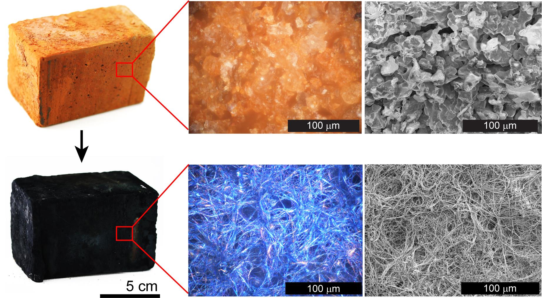 Foto dan gambar mikroskop ini menunjukkan struktur batu bata terbakar sebelum dan sesudah pengendapan lapisan nanofibrillar yang meningkatkan luas permukaan di dalam batu. Gambar: Laboratorium D'Arcy di Universitas Washington, St. Louis.