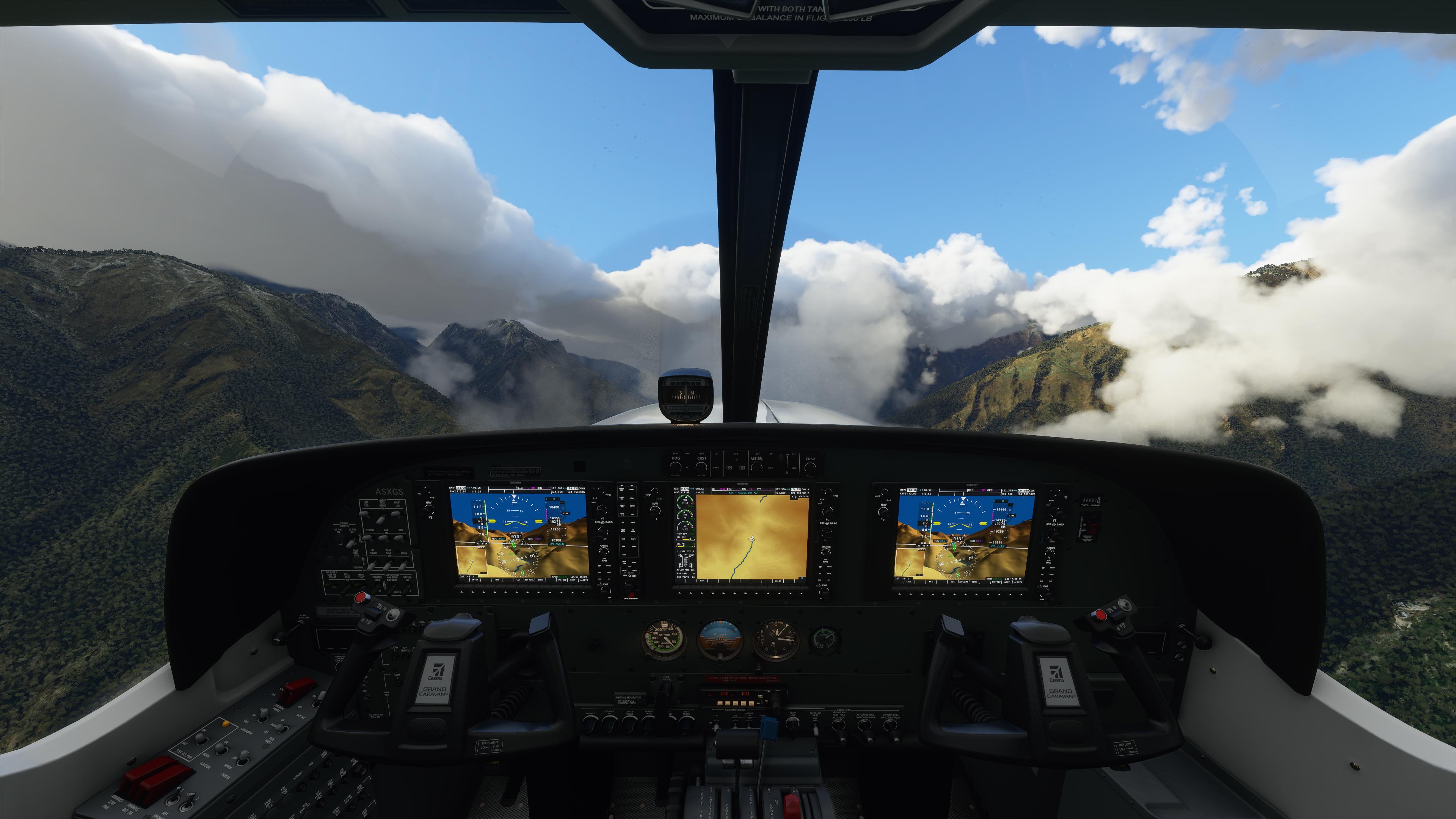 Pemandangan dari dalam pesawat pada game Flight Simulator 2020