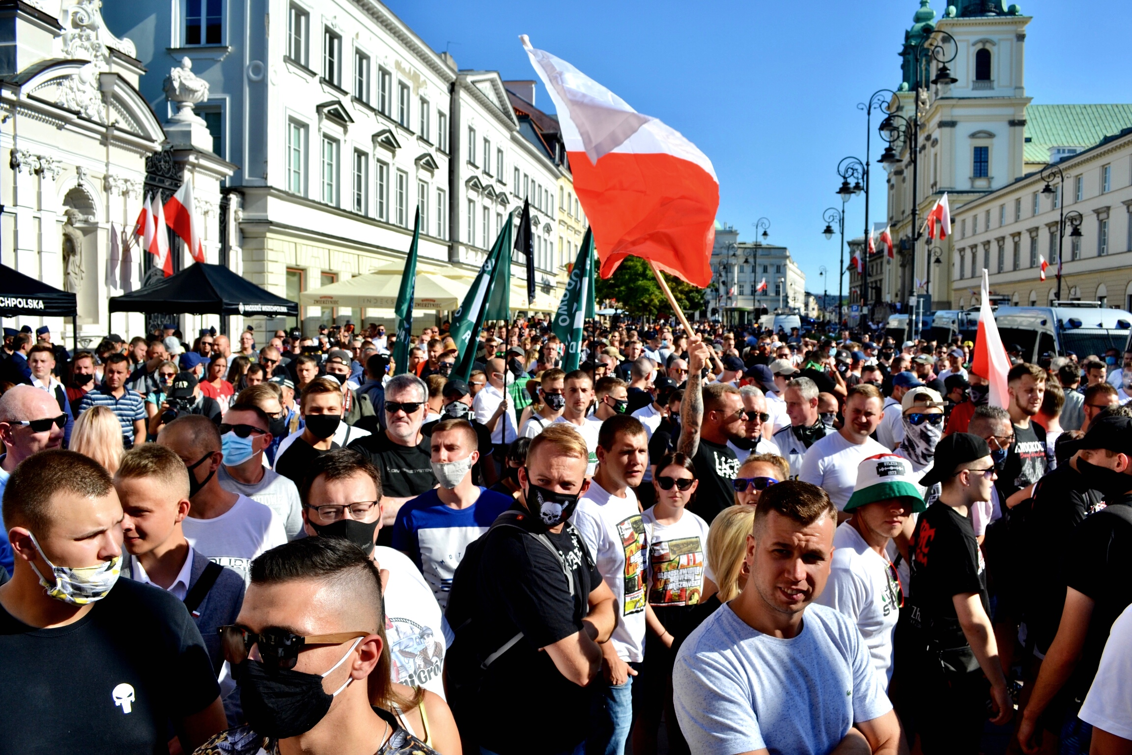 Hundreds of far-right activists gathered outside the University of Warsaw.