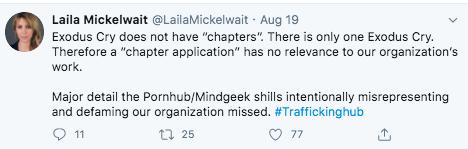 Screenshot of a tweet by Laila Mickelwait.