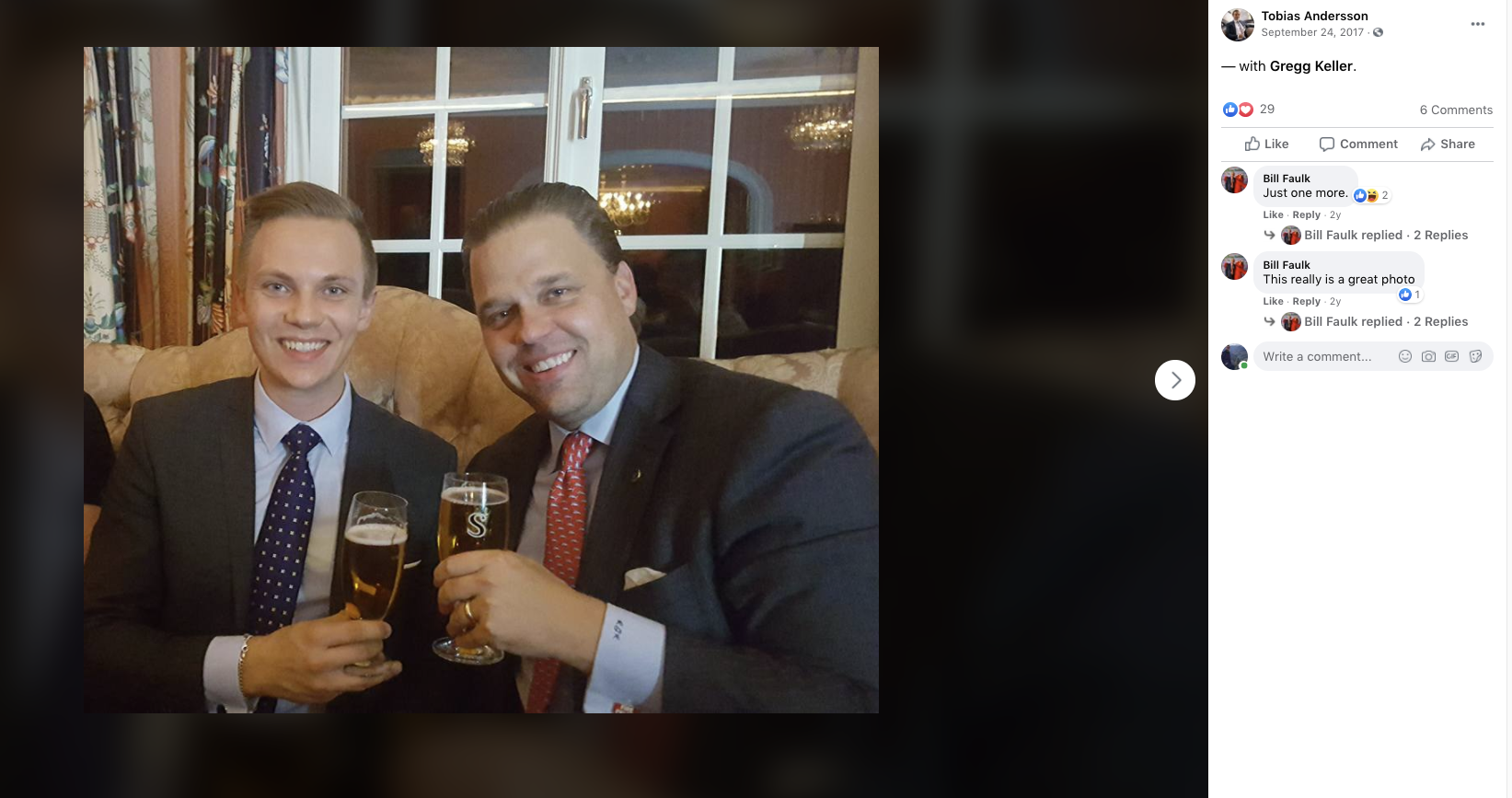 Screen Shot 2020-09-09Tobias Andersson (L), a rising star among the Sweden Democrats, shares drinks with GOP consultant Gregg Keller (R) in a photo posted to Facebook on Sept. 24, 2017 at 11.31.47 AM.png