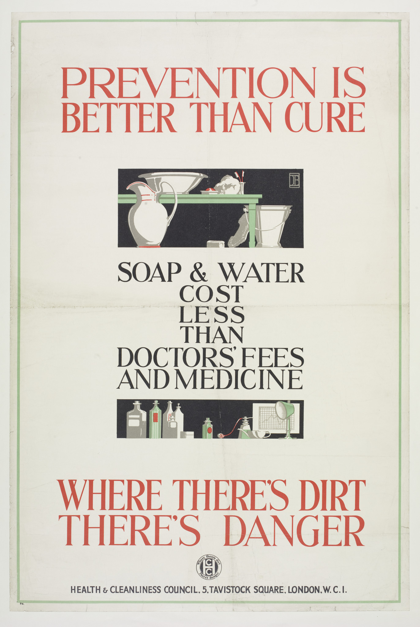 """""""Prevention is better than cure"""" (poster), Dorothy Adelaide Braddell for the Health and Cleanliness Council, c.  1925. (E.721-1978) Credit Victoria and Albert Museum.jpg"""