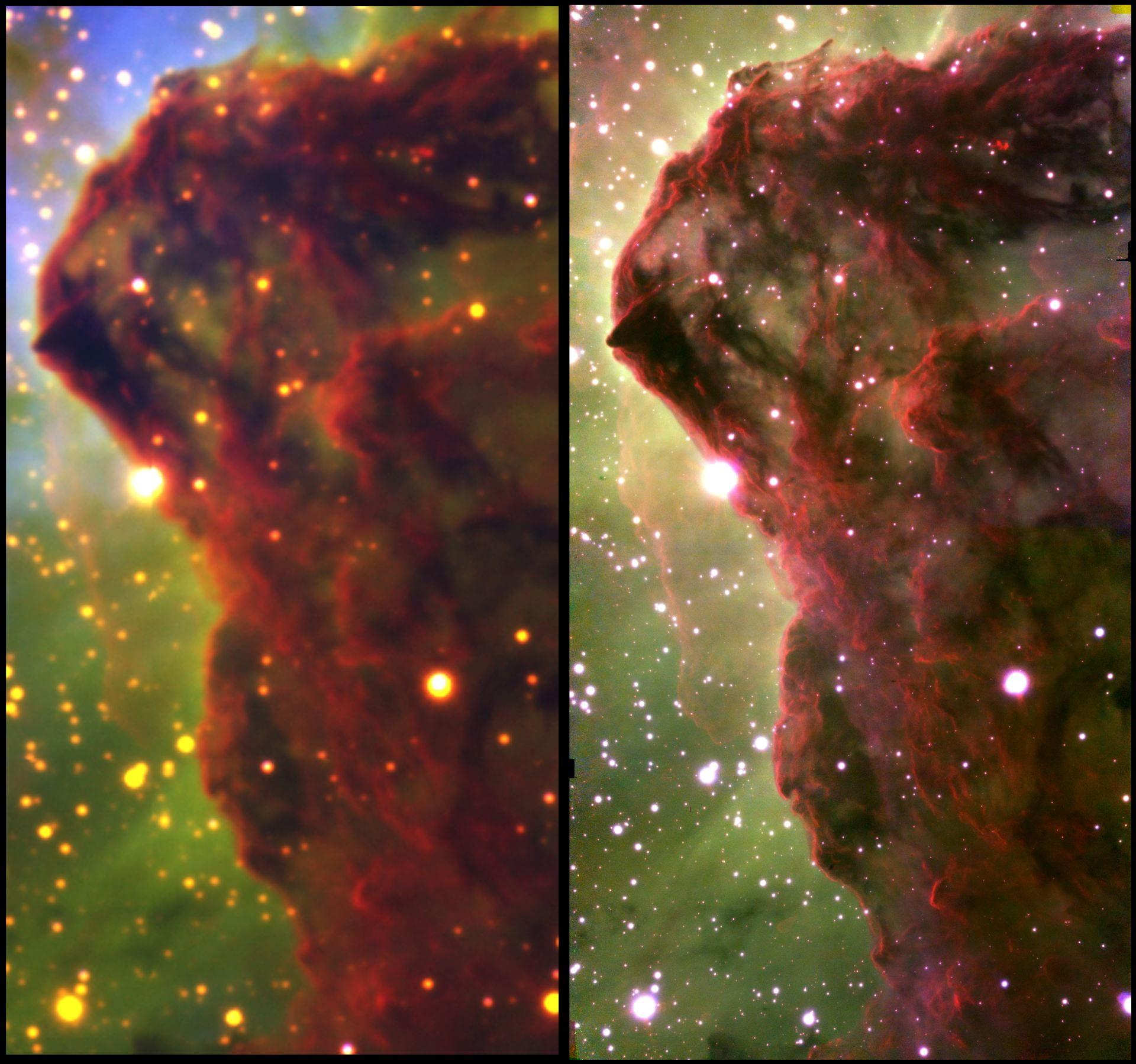 Perbandingan gambar Nebula Carina oleh Teleskop Blanco dan Gemini South