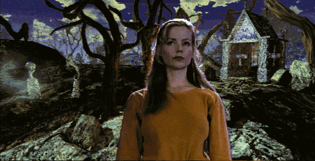 A lurid screenshot depicting a blonde woman against a pixelated backdrop of a stylized graveyard.