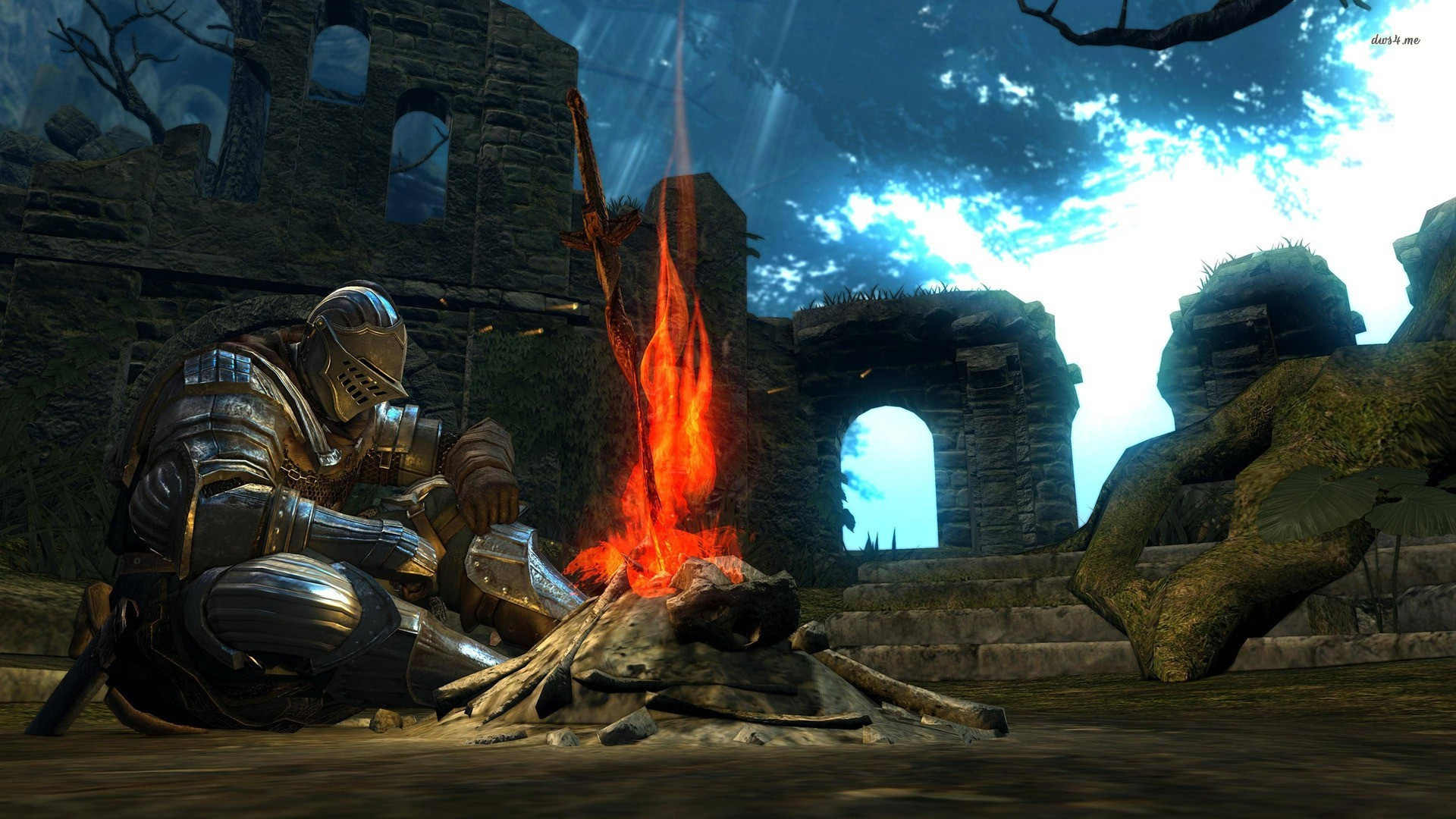 A knight rests at the Firelink Shrine bonfire in the original Dark Souls