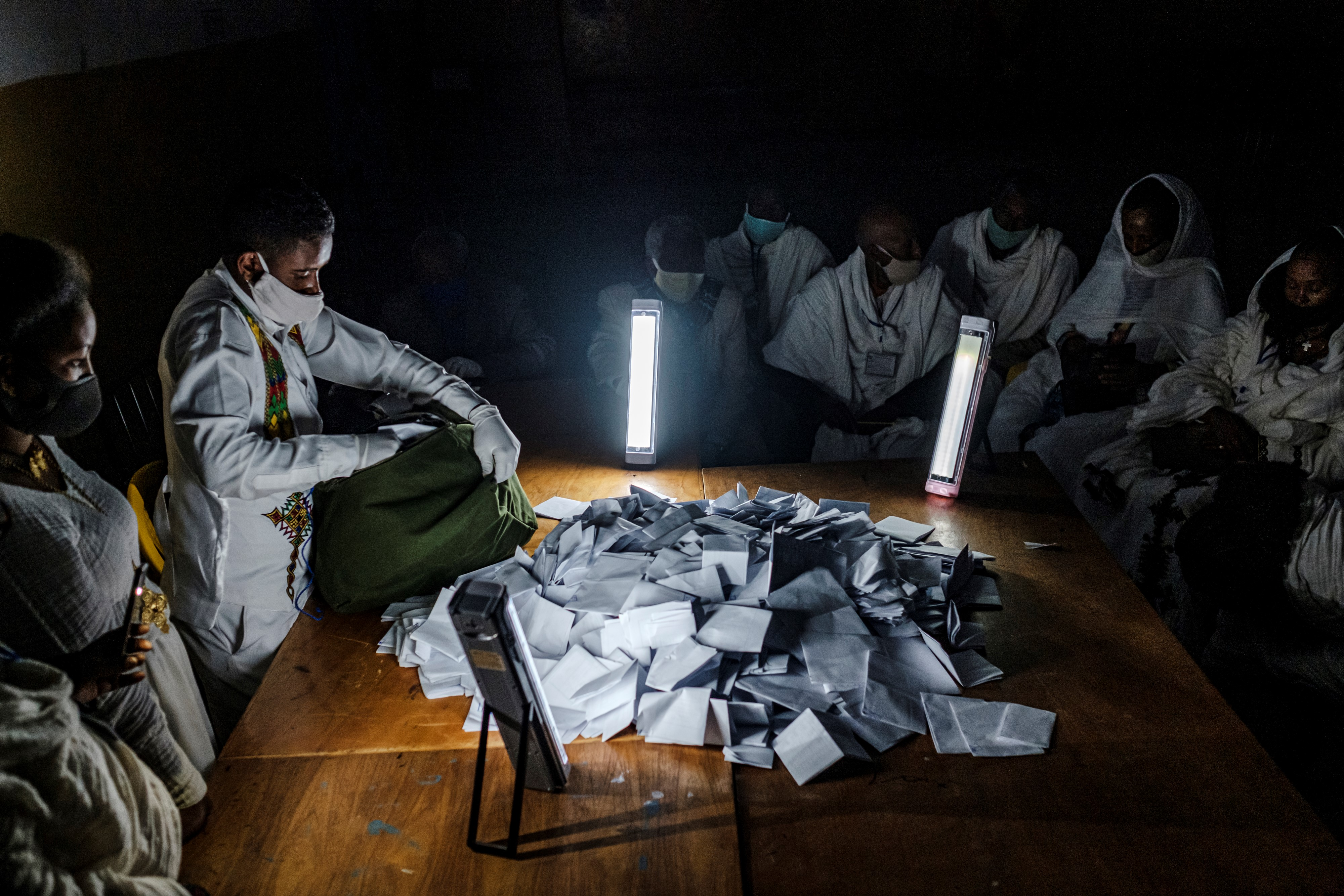 Election officials count ballots in Tigray.