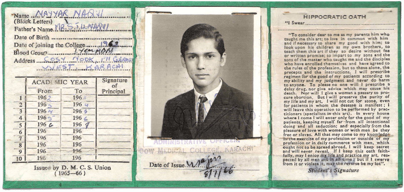 Dr Nayyar Naqvi identity card, from the Migration Museum's Heart of the Nation exhibition (Courtesy Nayyar Naqvi).png