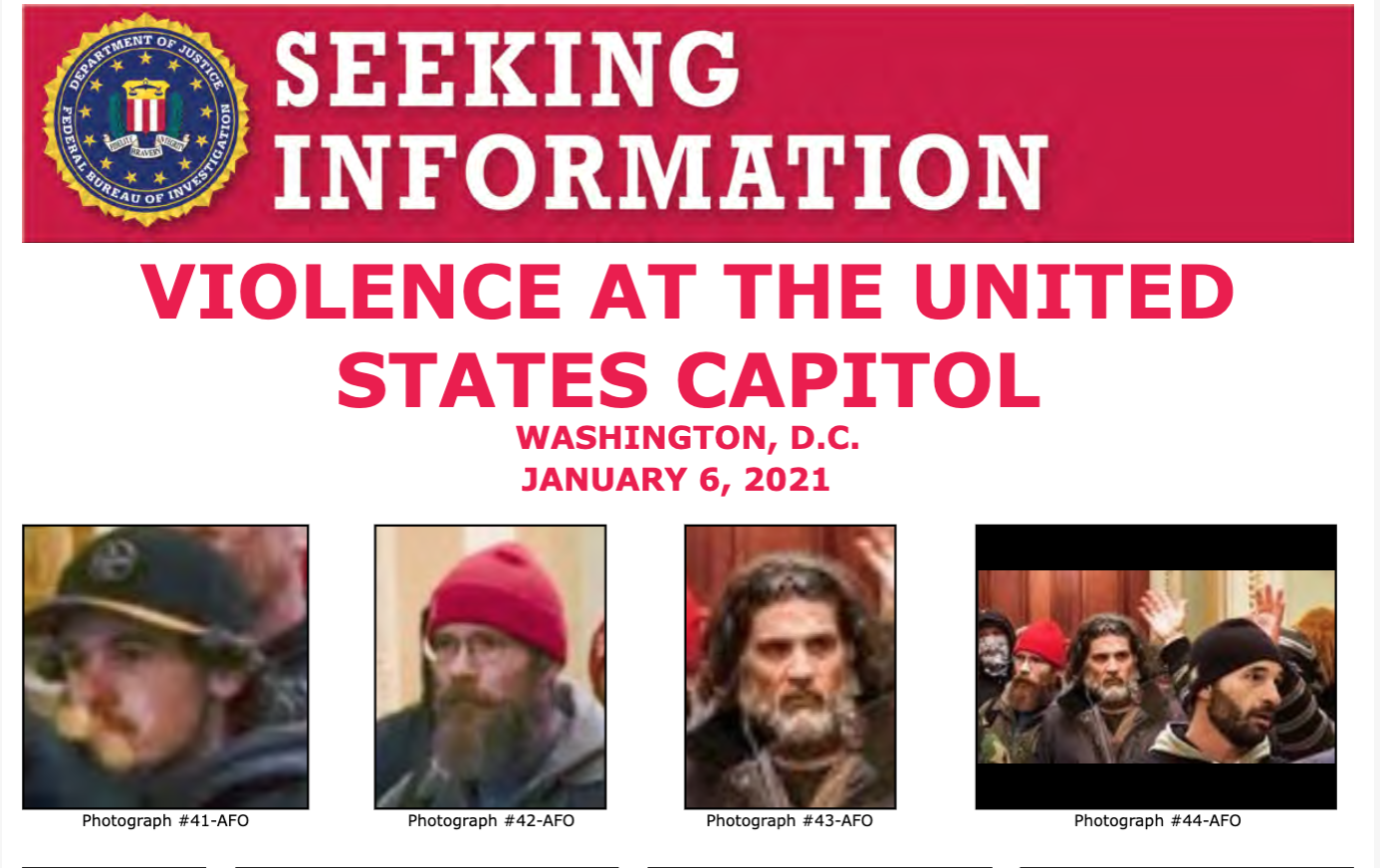 ScreA poster released by the FBI in the hopes identifying Capitol Hill rioters. Spazzo can be seen clearly in the third and fourth photograph. (Photo via FBI)