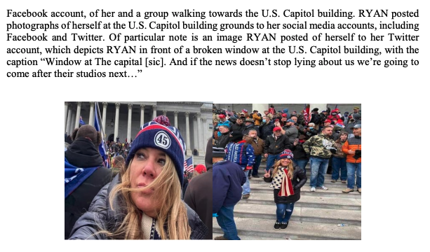 A screenshot of the criminal complaint against Jenna Ryan. Ryan posted these photos of herself at the Capitol, according to the complaint. (Statement of Facts/FBI)