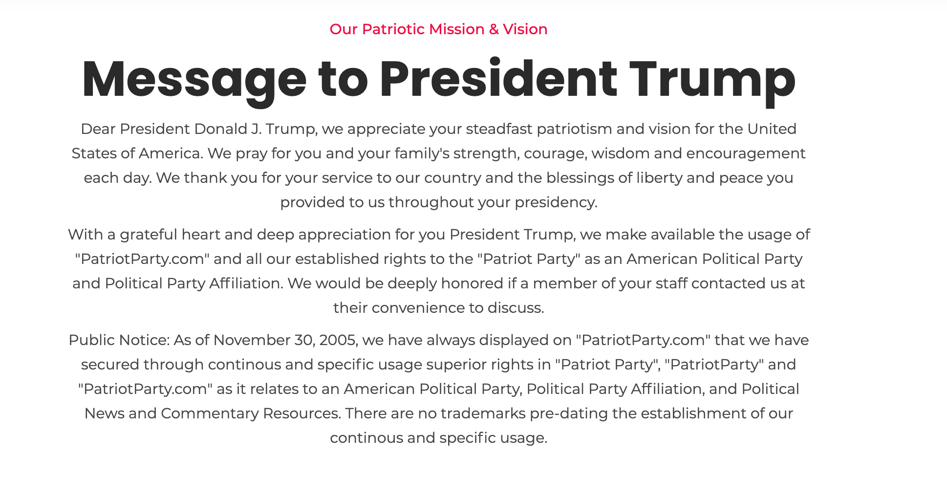 A message left to President Trump by members of the Patriot Party. Photo via screenshot.