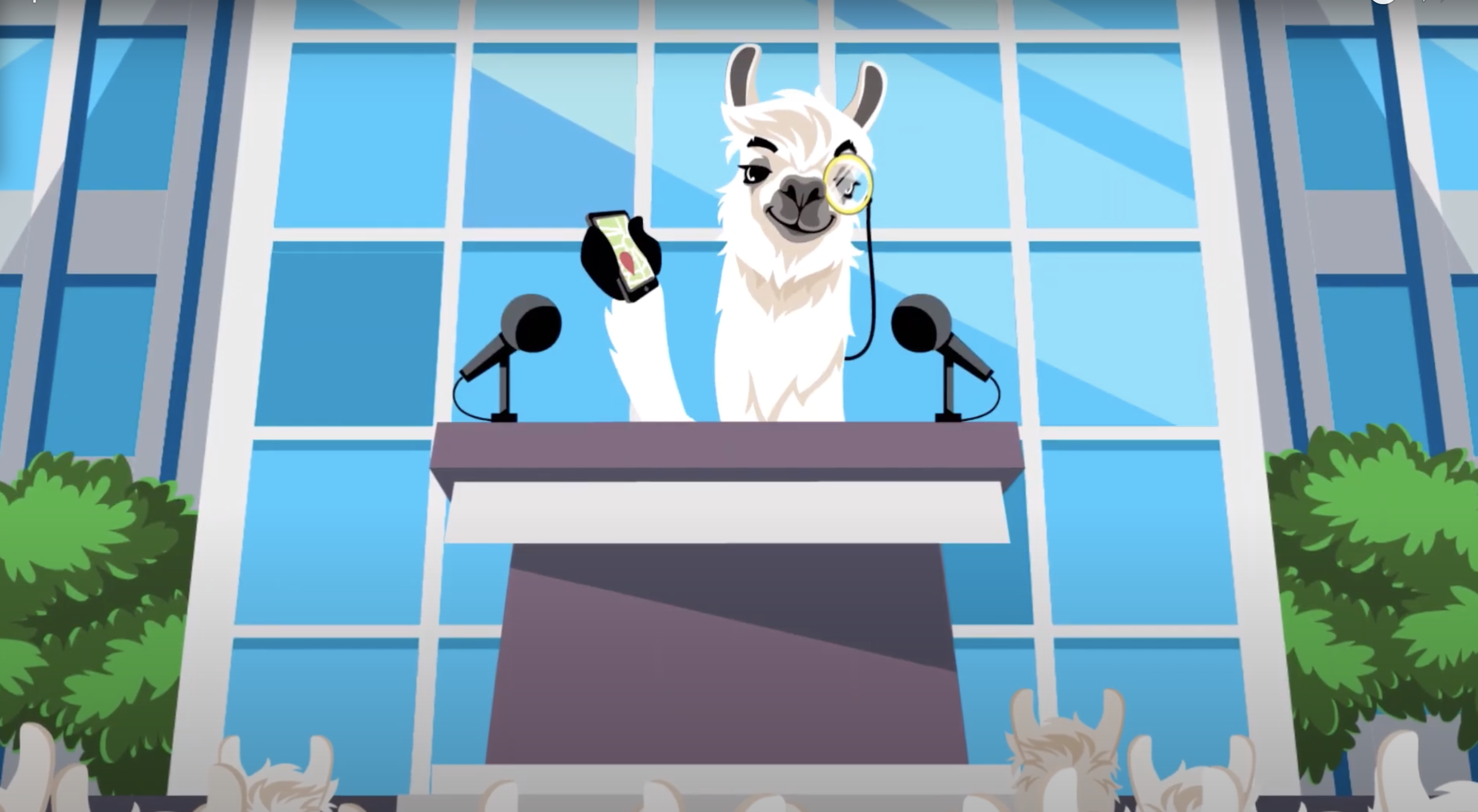 A cartoon llama wearing a monocle stands at a podium in the trailer for Upland.