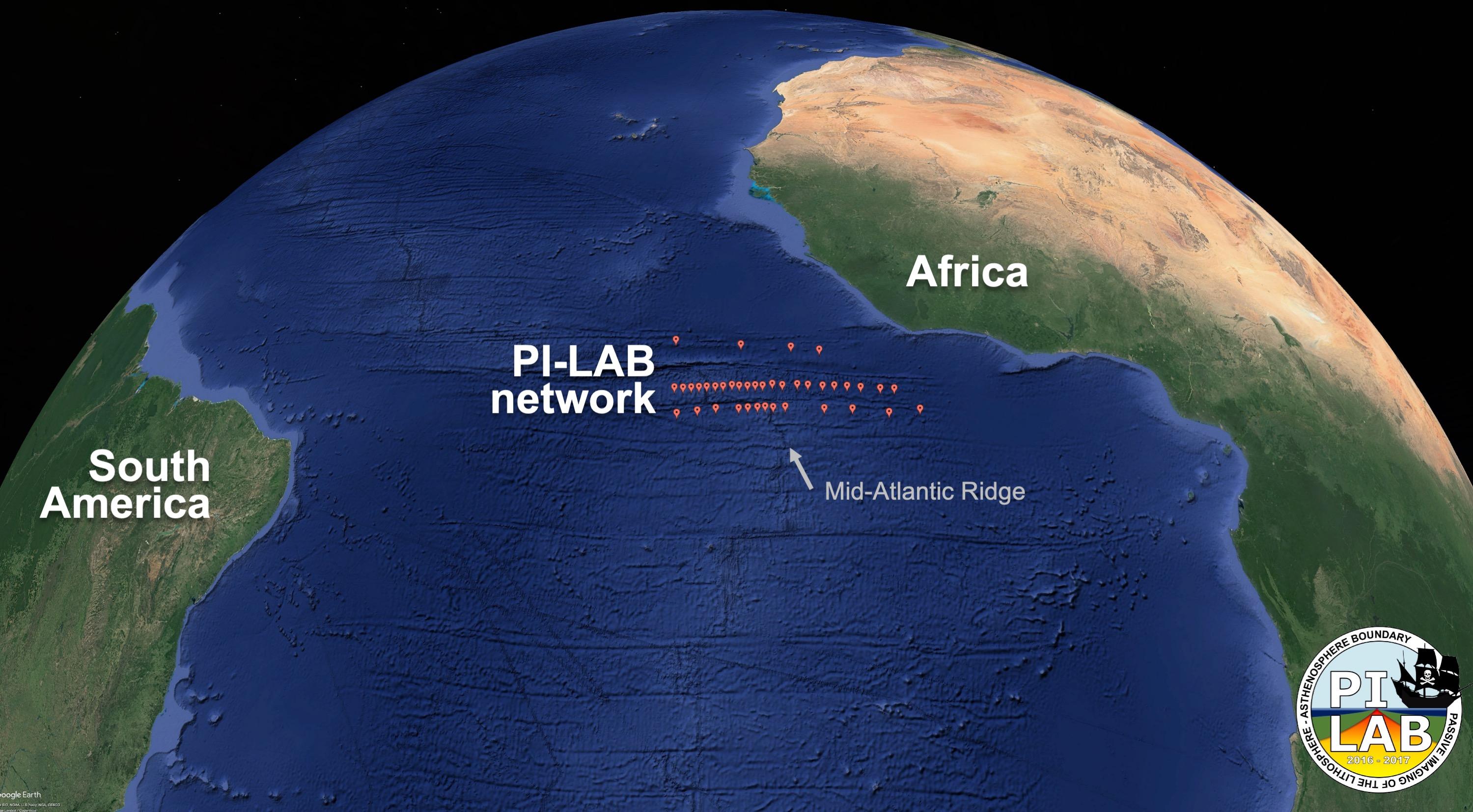 Lokasi penyebaran seismometer di sepanjang Punggung Tengah Atlantik. Gambar: Universitas Southampton.