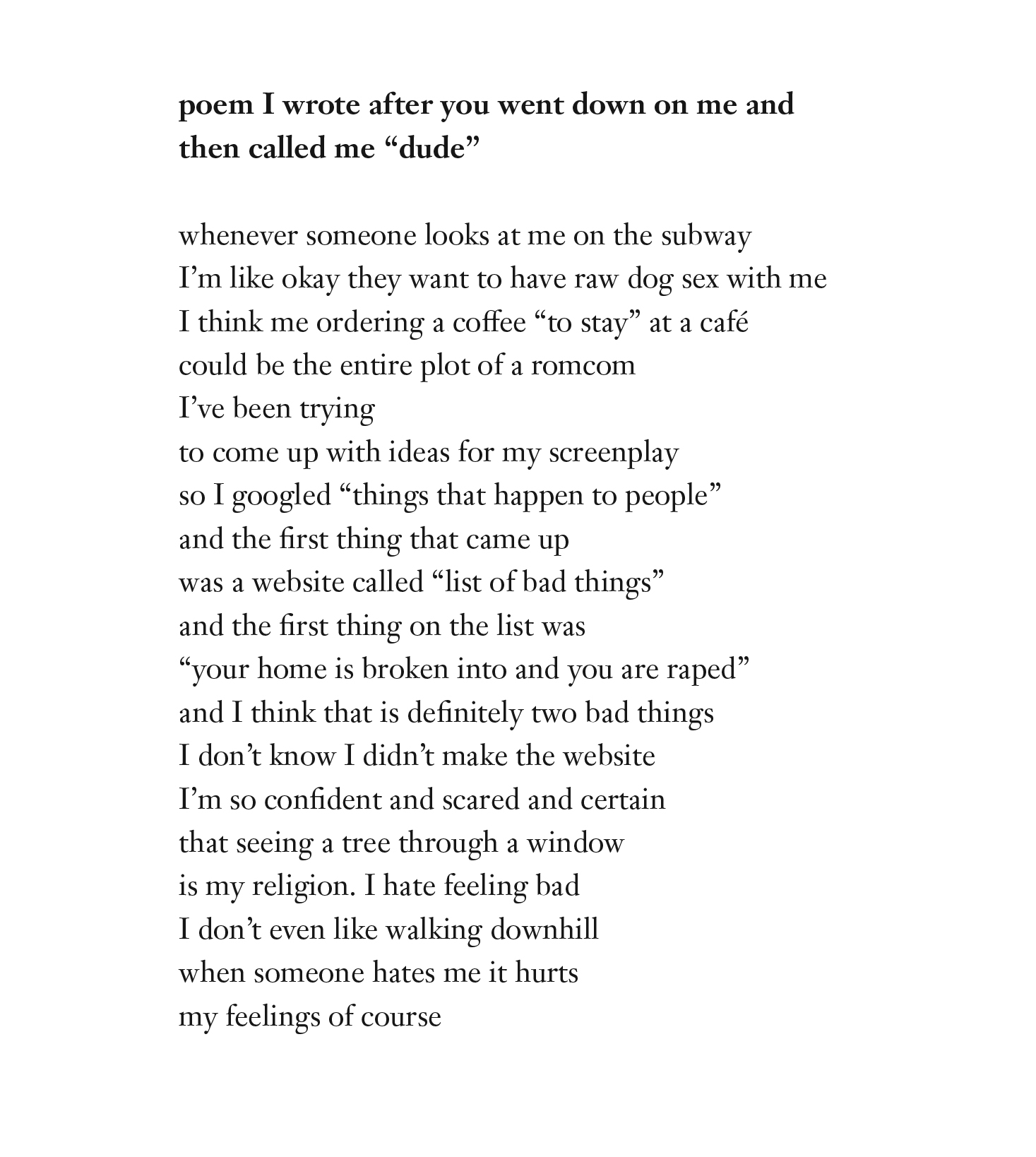 cat cohen cohen poem i wrote after you went down on me and called me dude