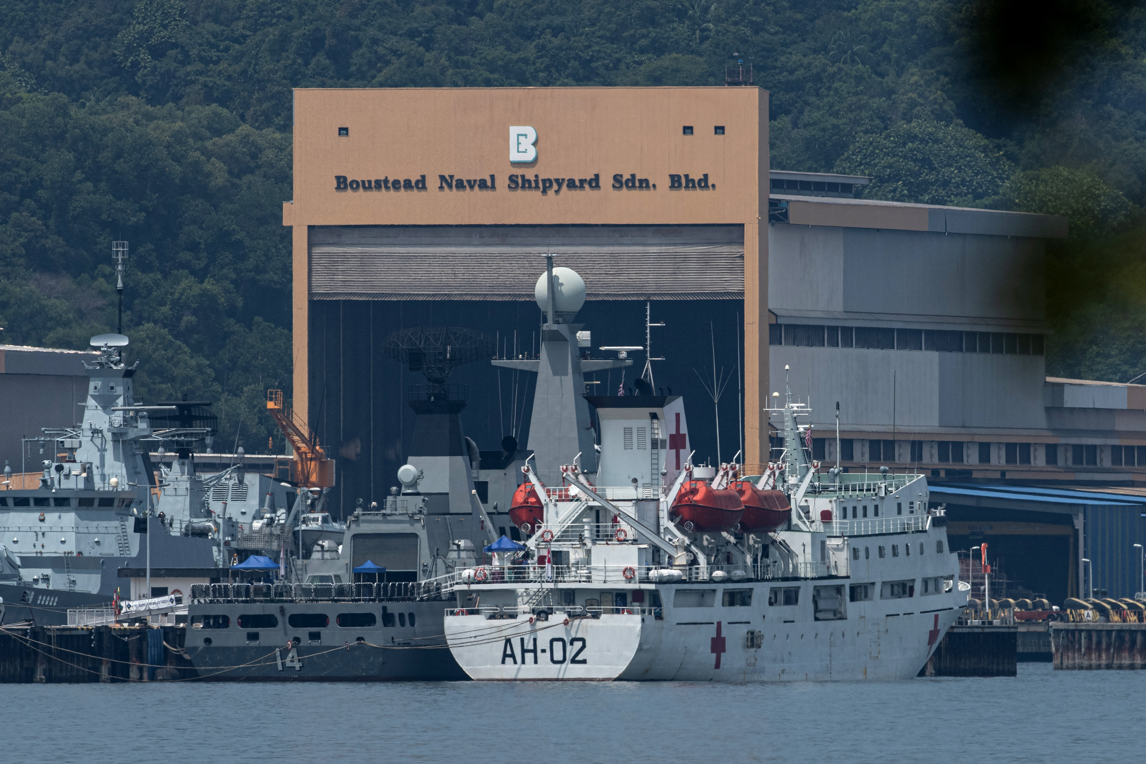 Myanmar vessels docked at the naval base in Lumut, Malaysia. PHOTO: AFP / MOHD RASFAN