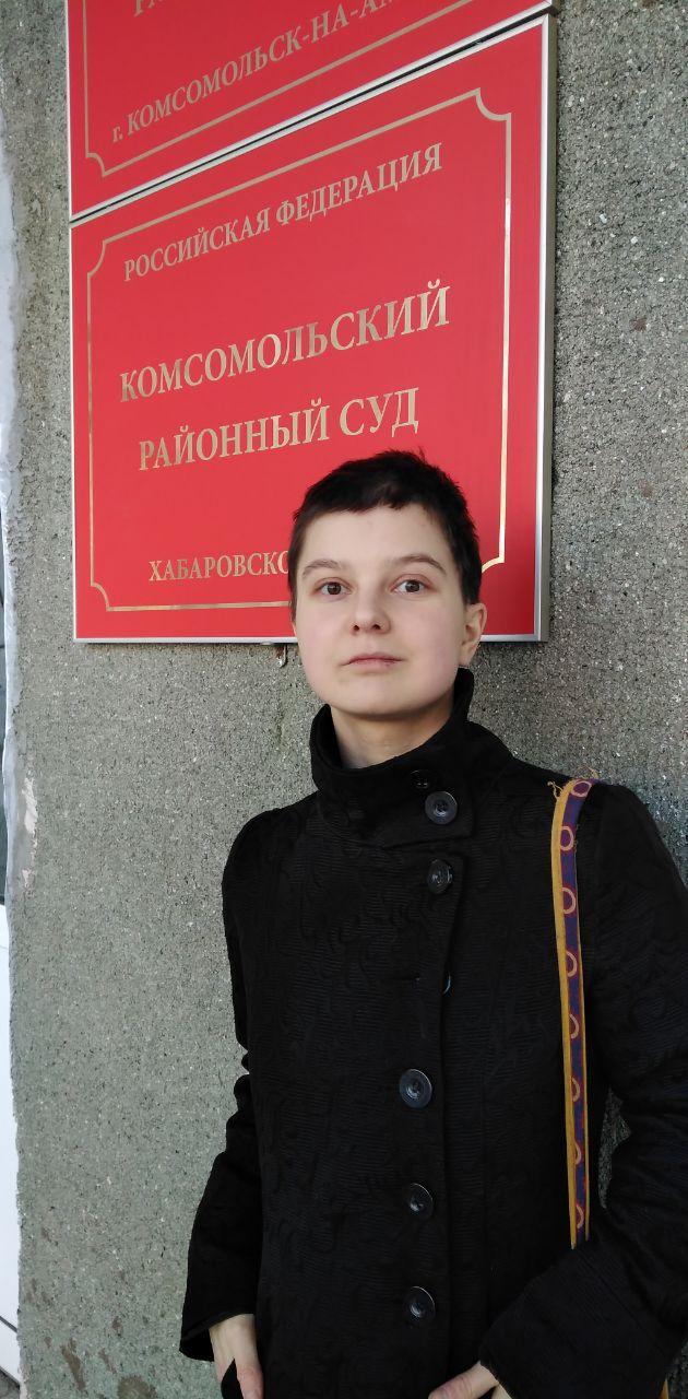 Yulia Tsvetkova at court in her home city. Photo: Anna Khodyreva